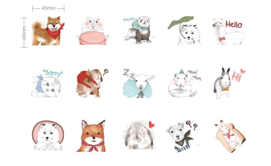 Hộp 45 Miếng Dán Sticker Trang Trí Xin Chào Thế Giới Động Vật
