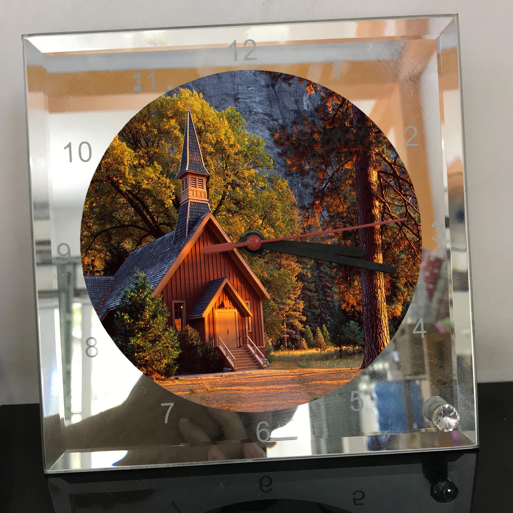 Đồng hồ thủy tinh vuông 20x20 in hình Church - nhà thờ (125) . Đồng hồ thủy tinh để bàn trang trí đẹp chủ đề tôn giáo