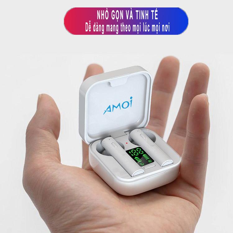 Tai nghe bluetooth không dây AMOI Air 6 Plus hỗ trợ sạc bằng năng lượng mặt trời, bluetooth 5.0, chống nước IP4, nghe nhạc và đàm thoại-Hàng chính hãng