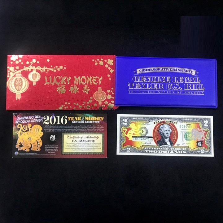 Tờ kỷ niệm 2 USD con Khỉ 2016, được in bằng mực màu vàng phản quang, làm quà tặng sang trọng, độc đáo, ý nghĩa - TMT Collection - TLX063