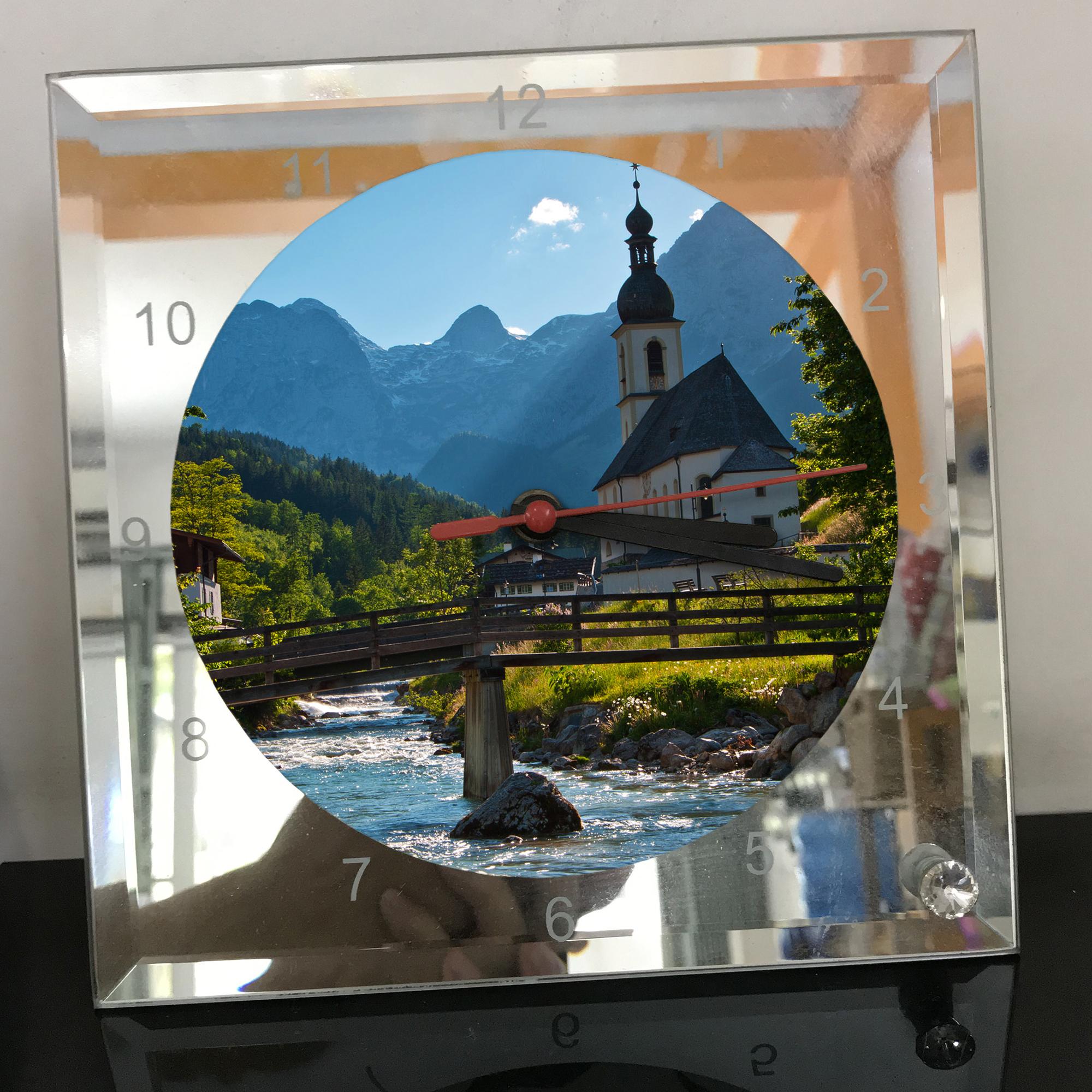 Đồng hồ thủy tinh vuông 20x20 in hình Church - nhà thờ (127) . Đồng hồ thủy tinh để bàn trang trí đẹp chủ đề tôn giáo