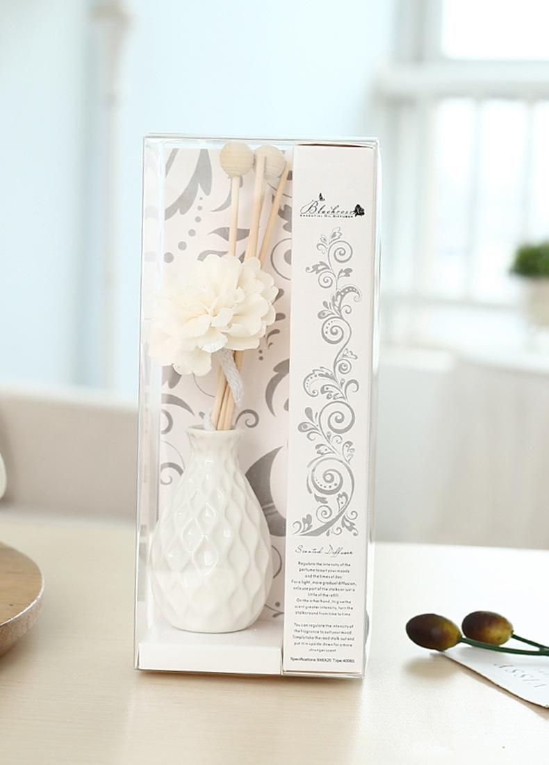 Lọ hoa tinh dầu gốm sứ trắng vân hình thoi 4x17cm