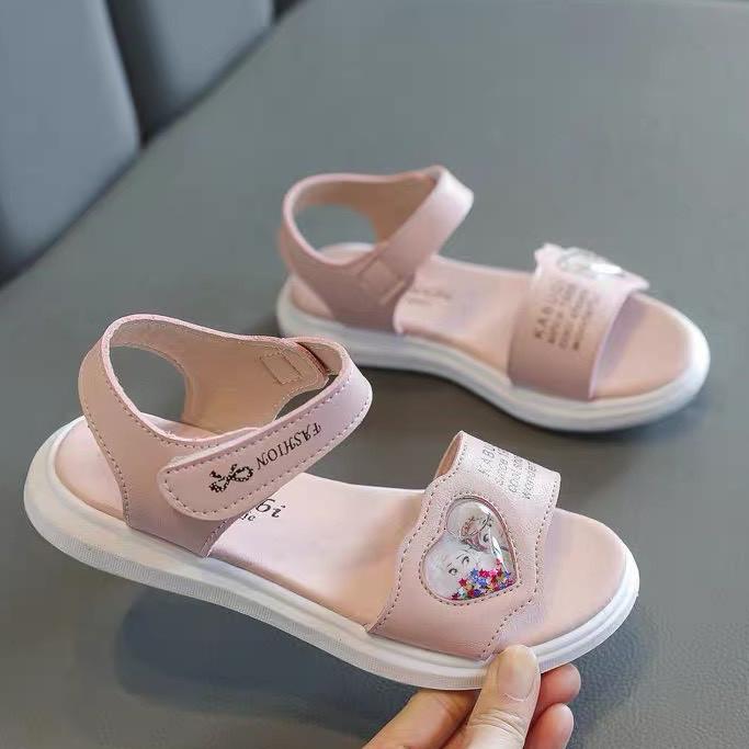 Sandal bé gái 3 - 12 tuổi quai ngang họa tiết Elsa Anna da mềm quai hậu thời trang phong cách Hàn Quốc SG56
