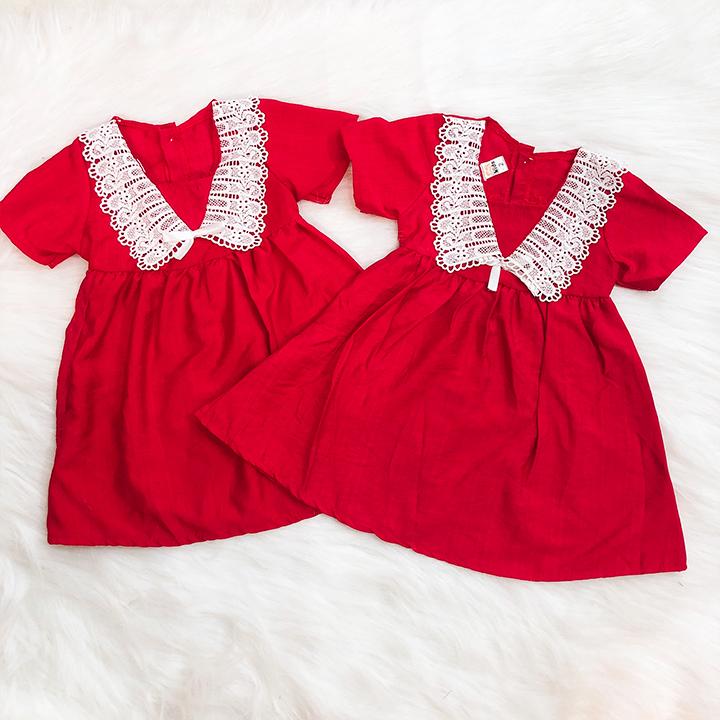 Đầm xòe đỏ cotton phối ren đáng yêu cho bé 1-7 tuổi chất nhẹ mát họa tiết đơn giản nhẹ nhàng - SD067
