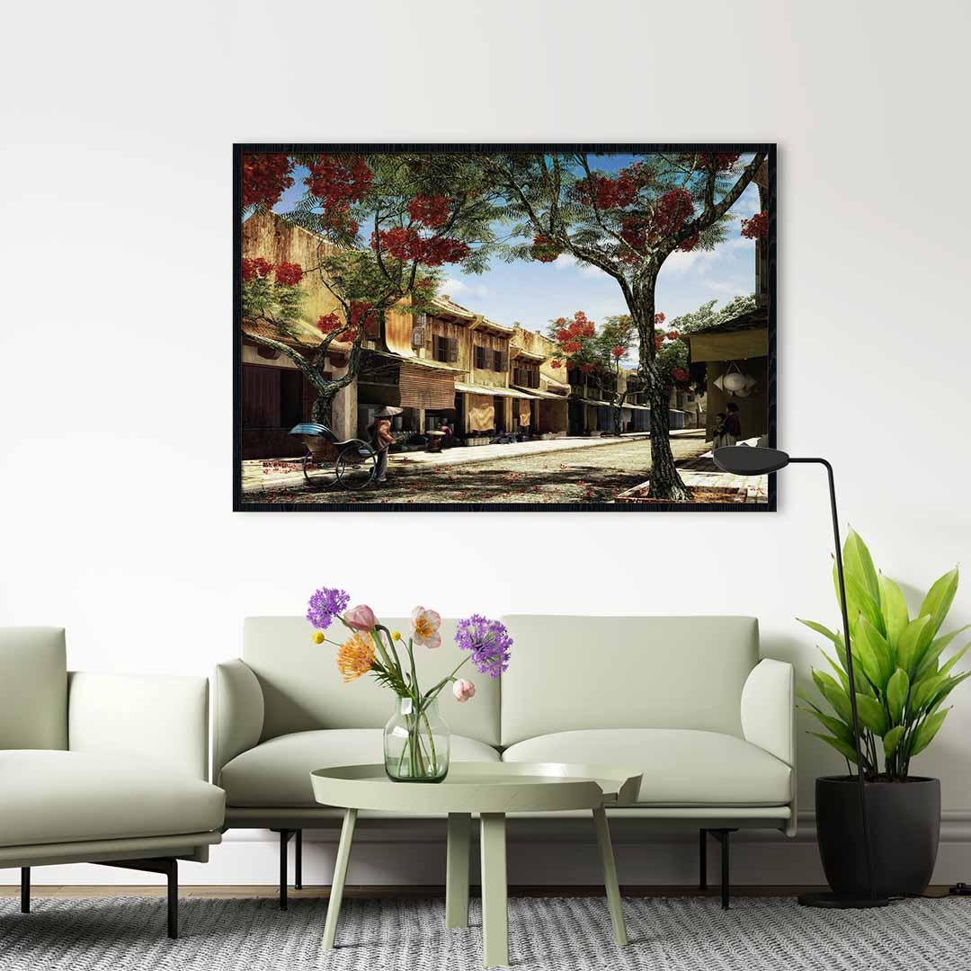 Tranh treo tường in lụa phong cảnh Hà Nội – HNX021