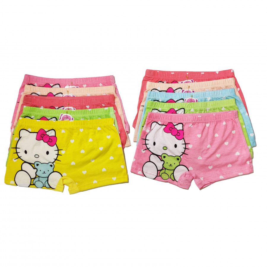 Sét 10 quần chíp đùi mèo Kitty 3D dễ thương cho bé gái - màu ngẫu nhiên - XL