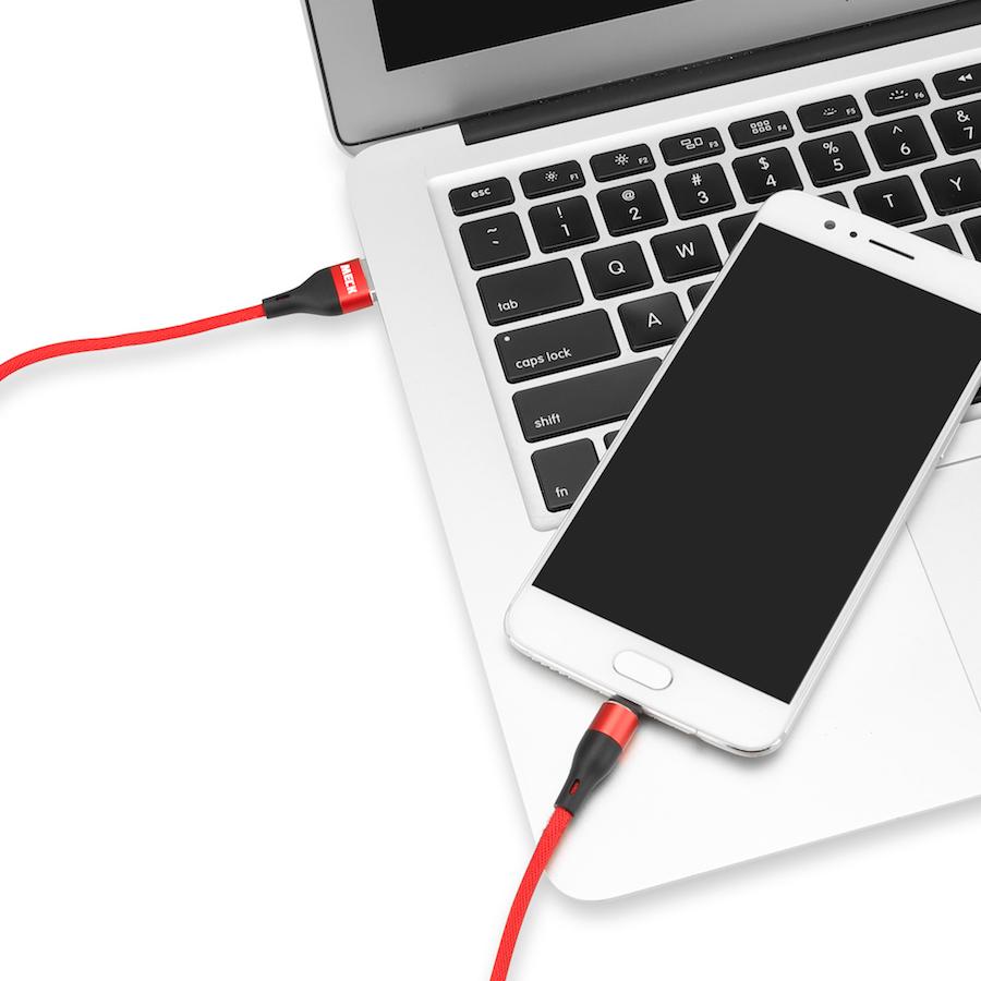 Dây Cáp Sạc USB Type-C MECK (1m): USB-C Quick Charge C 2.0 Braided Cable - Hàng Chính Hãng