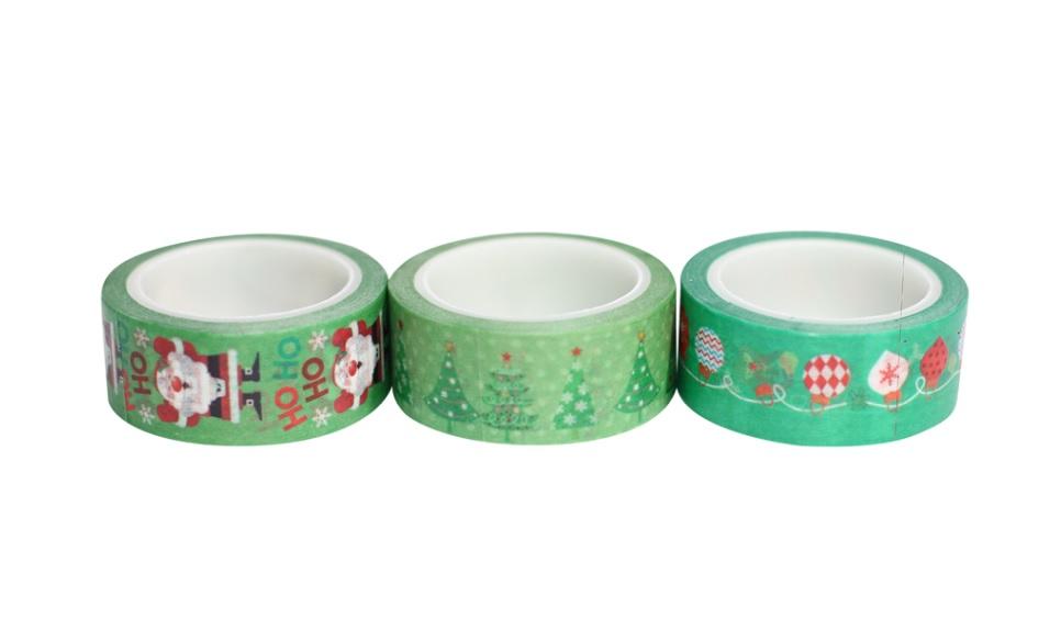 Combo 3 Cuộn Băng Keo Giấy Trang Trí Washi Tape Chủ Đề Giáng Sinh - Xanh Lá