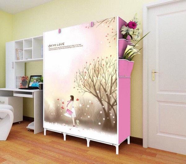 Tủ vải quần áo 3D 3 buồng 8 ngăn dành cho gia đình ( màu xanh)