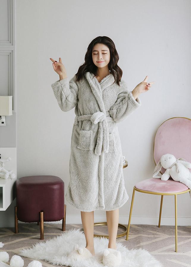 Áo choàng tắm cho nữ chất bông tuyết ấm mềm  CDACT01 xám