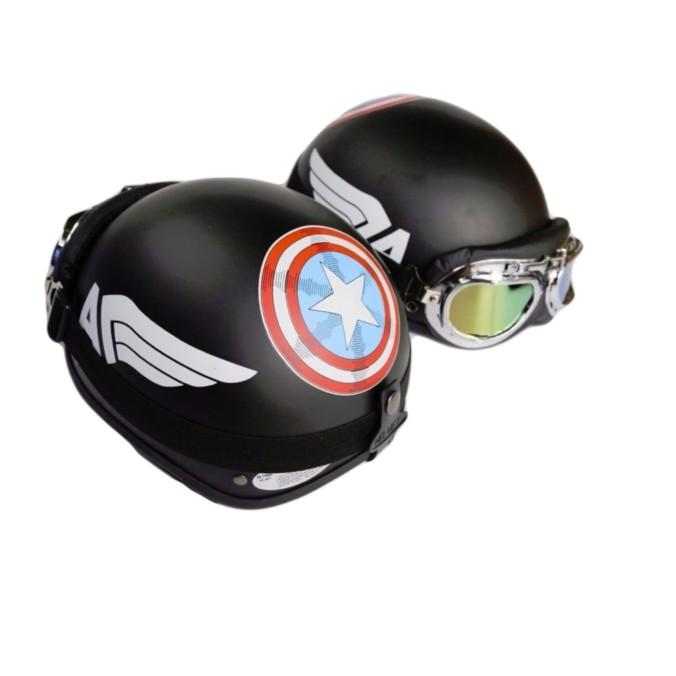 Combo mũ bảo hiểm 1/2 Cap + Kính Phi Công