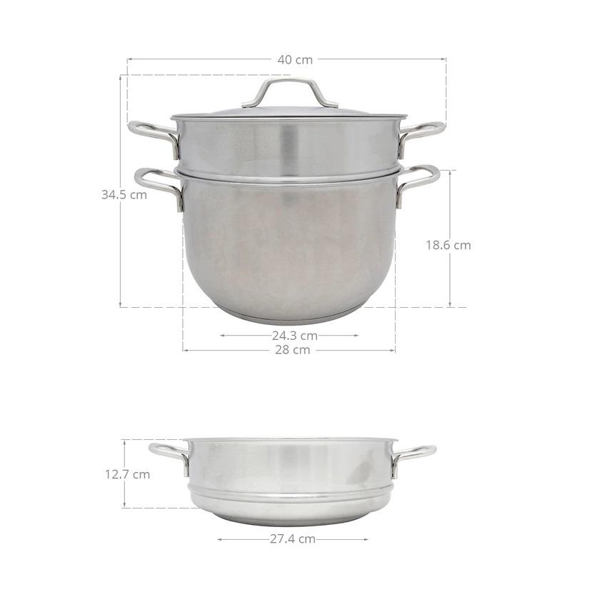 Bộ Nồi Xửng Hấp Nắp Inox Fivestar 28cm ST28-3D - Hàng Chính Hãng