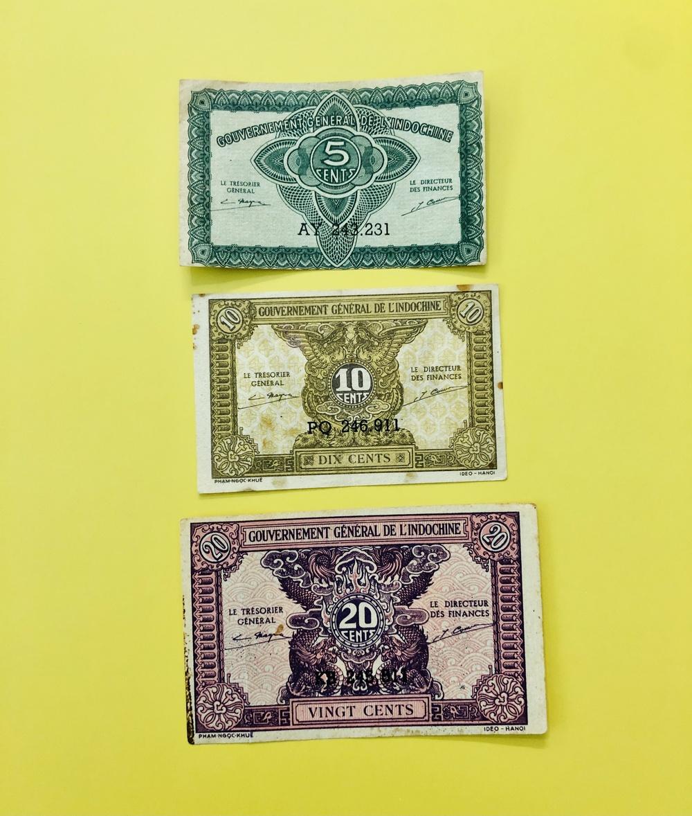 Combo 3 tờ tiền 5 xu 1 hào 2 hào cổ Việt Nam sưu tầm - kèm bao lì xì, chất lượng đẹp