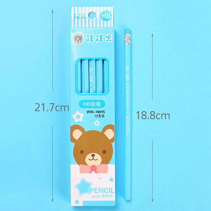 Set 4 bút chì chuốt HB bằng gỗ theo chủ đề nhiều màu sắc kèm gôm xinh xắn – H026