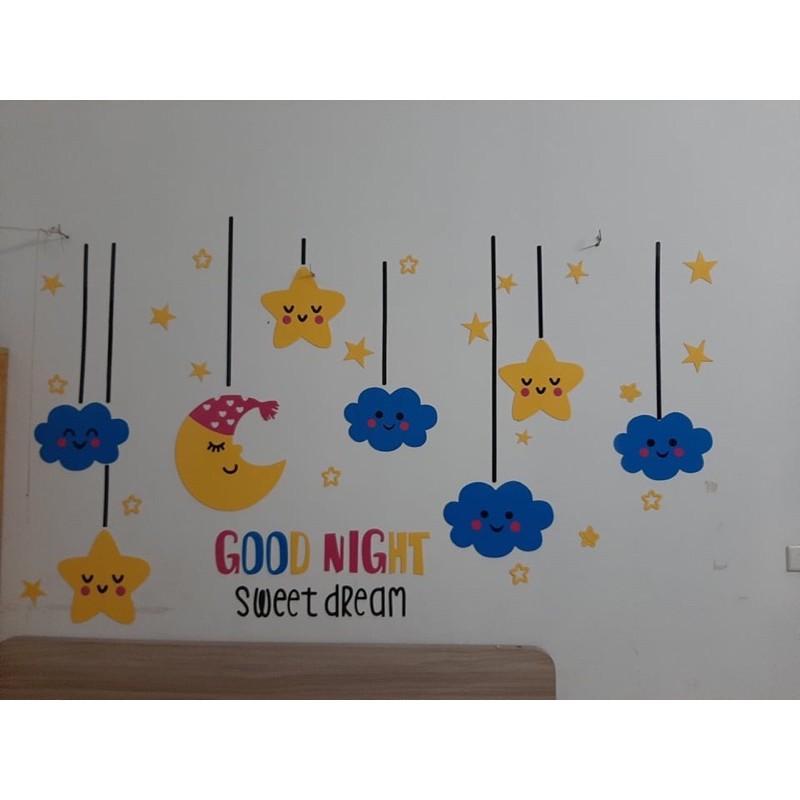 Size lớn-tranh dán tường cho bé 3D - Goodnight, trang trí mầm non, trang trí khu vui chơi trẻ em
