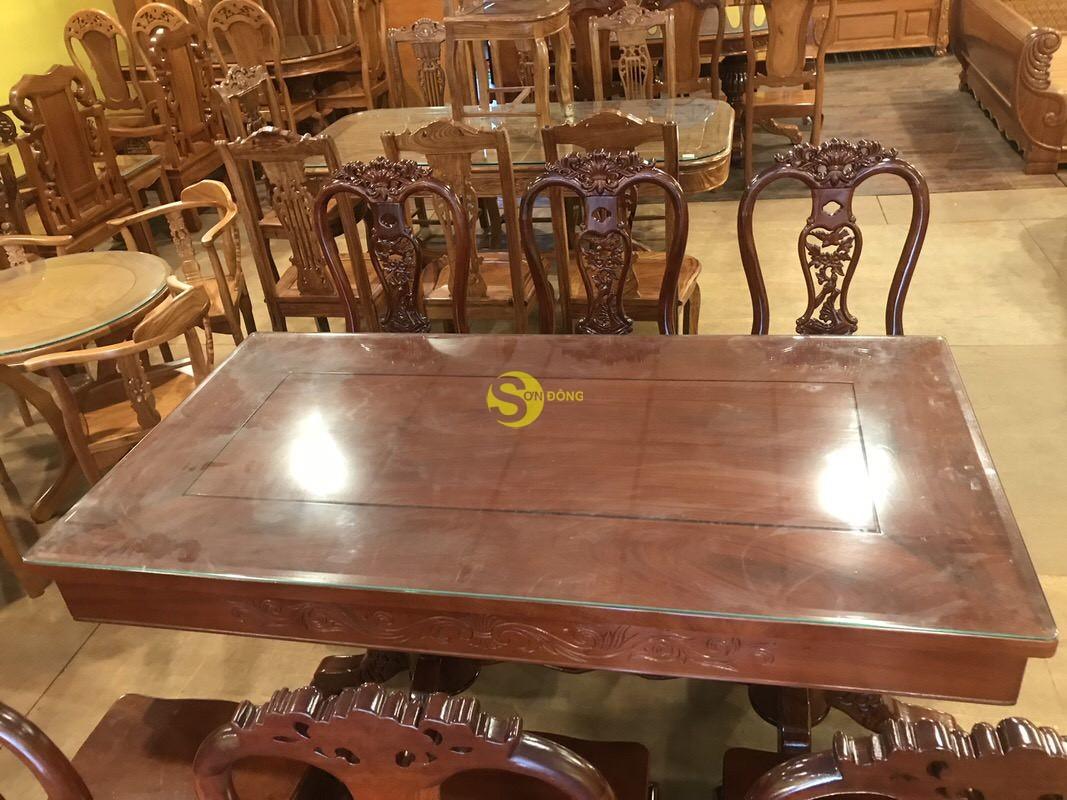 Bộ bàn ăn căm xe 6 ghế chim mai bàn vuông