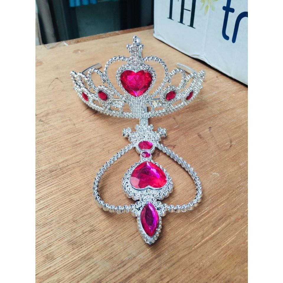 Phụ kiện hóa trang Elsa cho bé gái xinh xắn  2-3 chi tiết Gậy thần+Vương miệng+Tóc+Áo choàng