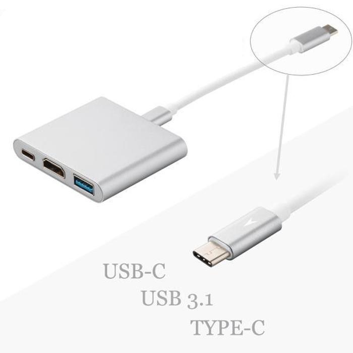 Cáp 3 in 1 chuyển đổi typeC sang HDMI/ USB/ TypeC VS - hỗ trợ chất lượng 4K (Xám)