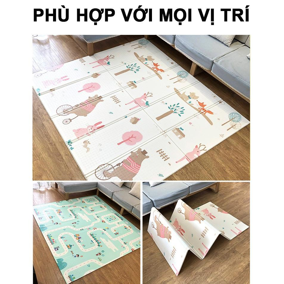 Thảm trải sàn cho bé xốp XPE 2 mặt phủ Silicone Hàn Quốc mẫu đẹp chống thấm, chống ngã,cho bé tập bò kèm túi SALE