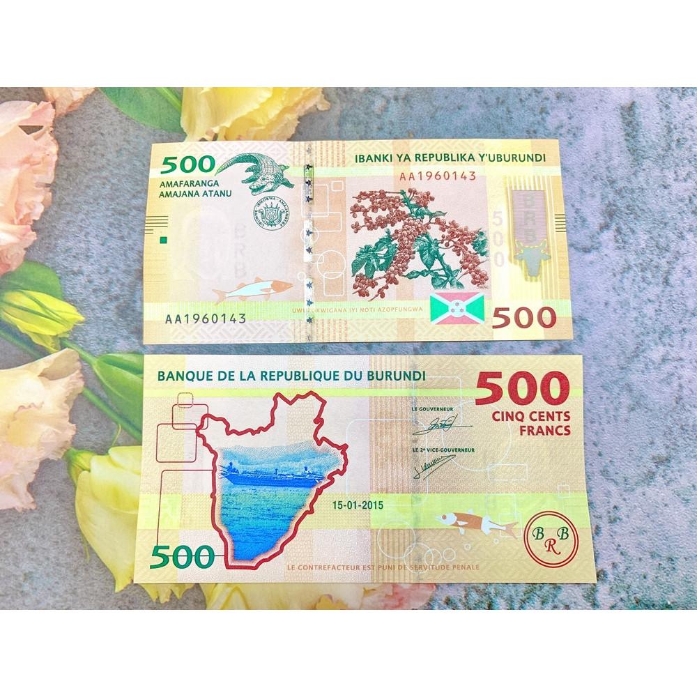 Tiền cổ Burundi 500 Francs màu vàng cam , tiền quốc gia nghèo châu Phi , mới 100% UNC, tặng túi nilon bảo quản
