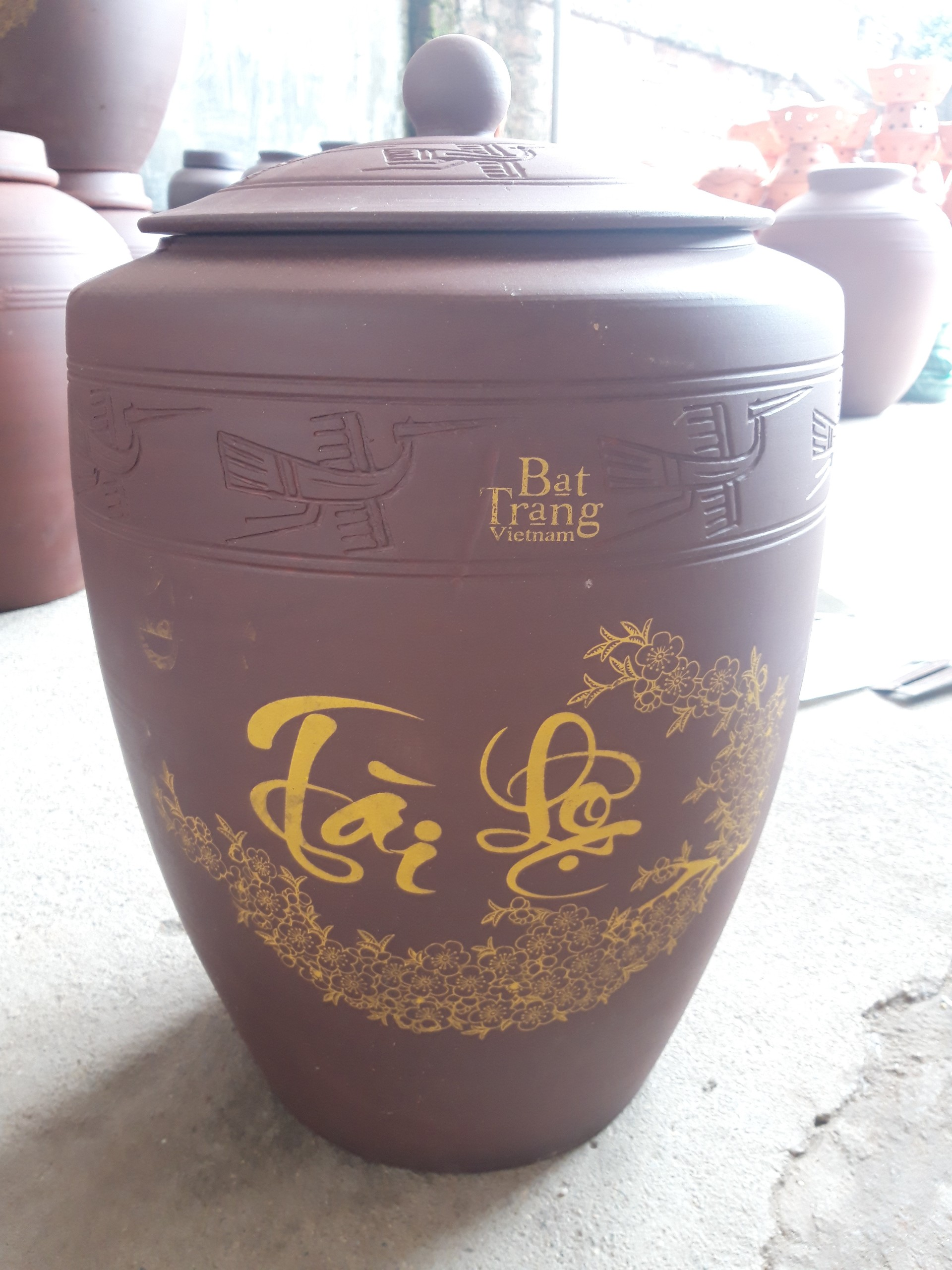 Hũ đựng gạo gốm sứ Bát Tràng loại 15Kg