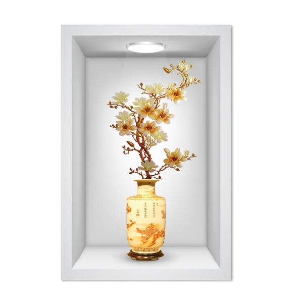 Tranh dán tường ô 3D lọ hoa đẹp 001 KT 40 x 60 cm