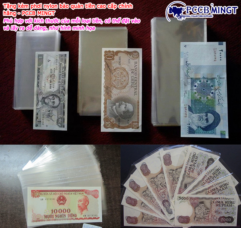 20 đồng hoa văn màu hồng, tặng phơi nylon bảo vệ tiền