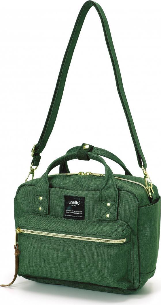 Túi đeo chéo ANELLO đeo 2 kiểu vải polyester cỡ nhỏ AT-C1223 - Màu Xanh Rêu