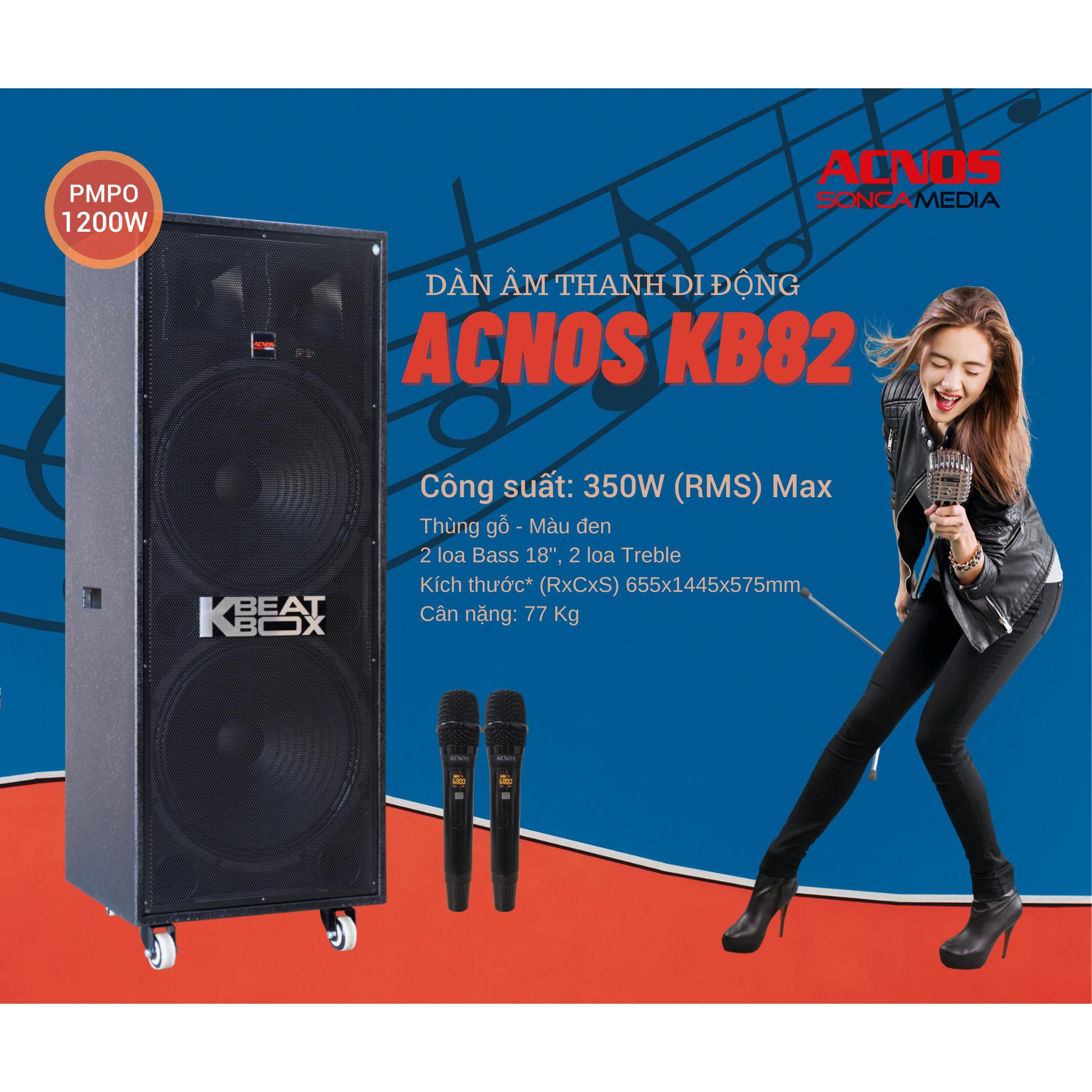 DÀN KARAOKE DI ĐỘNG ACNOS KB82 - Hàng Chính Hãng
