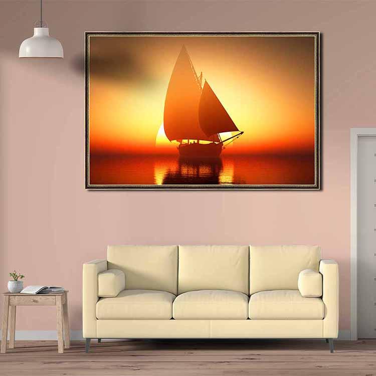 Tranh canvas phong thủy treo tường - Cánh buồm hoàng hôn - TBXG011 - Khung hoa văn viền mỏng - 120x80cm