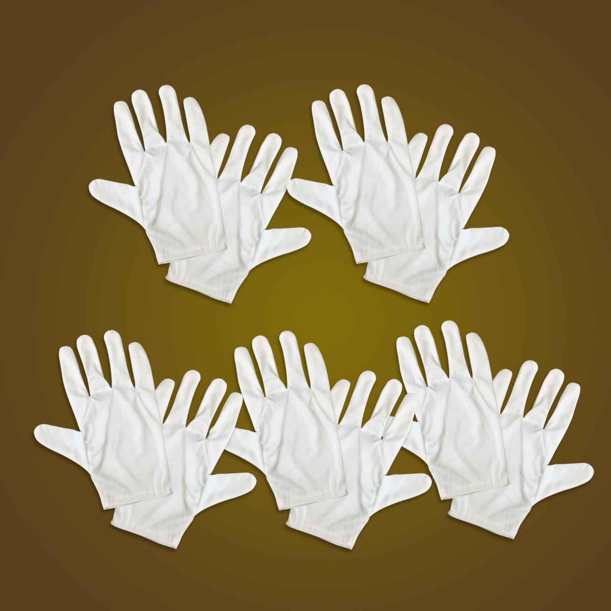 Bao tay trắng vải cotton 2 chiều (vải sẹc) cho lễ tân, bảo vệ, duyệt binh ( 5 đôi)