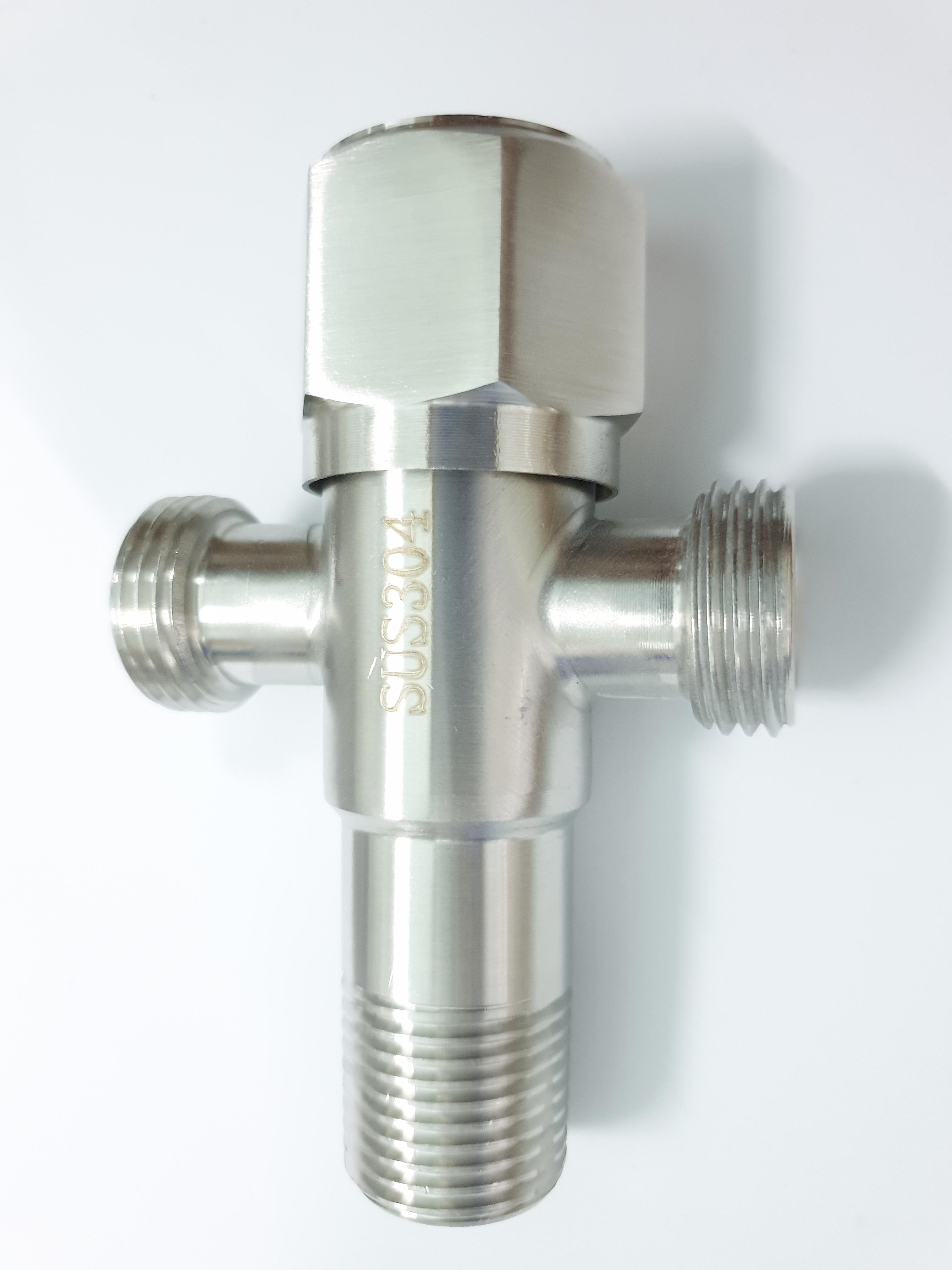 Van giảm áp_ T cầu Inox SUS 304 _ Van chia giảm áp lực nước _ Van T chia giảm áp và khóa 2 đường nước