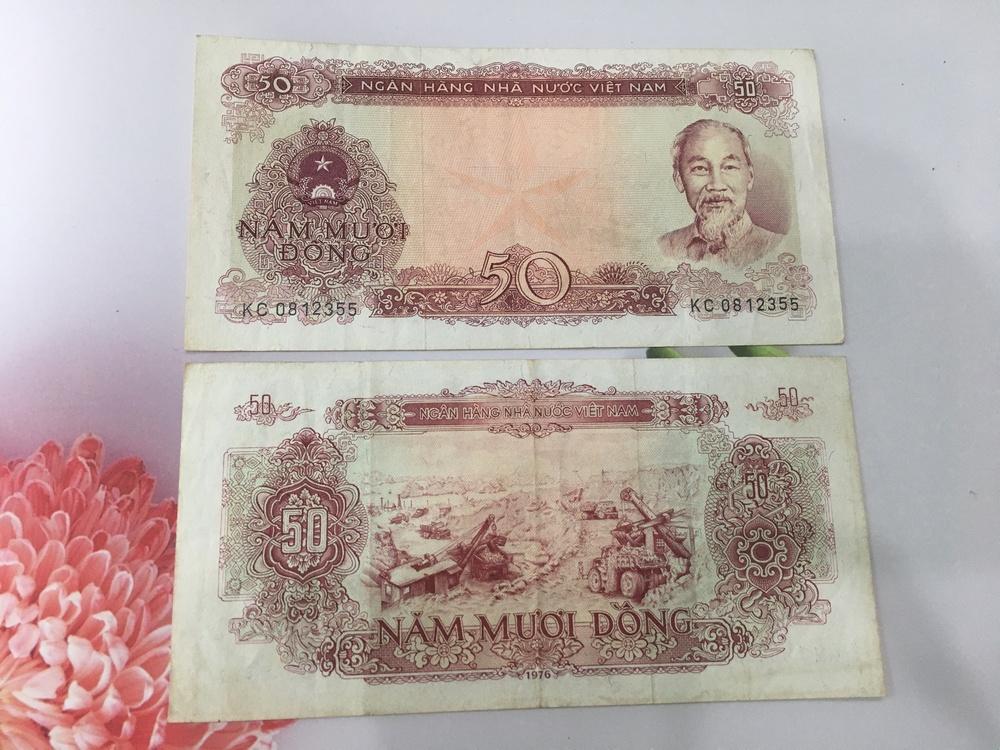 50 đồng 1976 sau giải phóng, tiền sáng đẹp, tặng phơi nylon bảo vệ