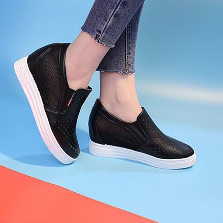 [CHẤT LƯỢNG] Giày độn đế nữ, giày slip on nữ độn đế lưới V3 êm chân, Hàng Quảng Châu loại 1
