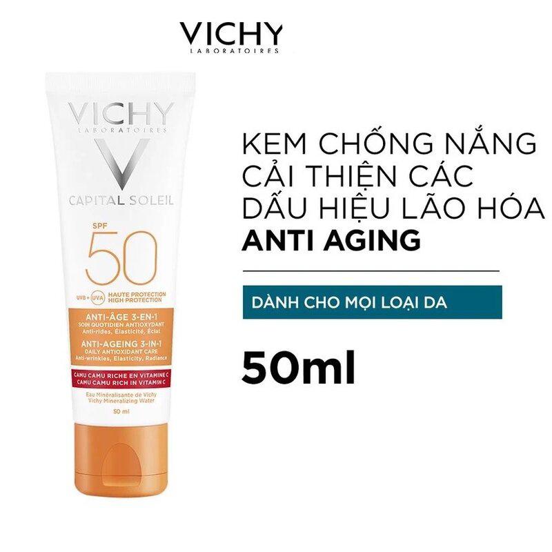 Kem Chống Nắng Chống Lão Hóa Và Dưỡng Da SPF 50 PA+++ Vichy Ideal Soleil Anti-Ageing 50ml