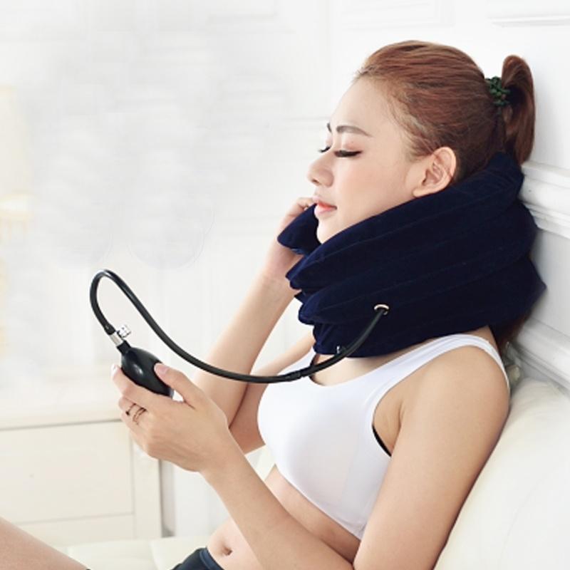 Đai gối hơi tựa cổ, hỗ trợ điều trị kéo giãn đốt sống cổ