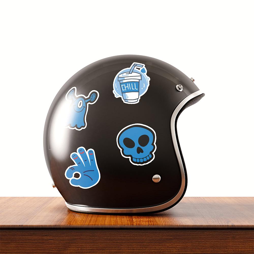 Blue Color - Set 30 sticker hình dán