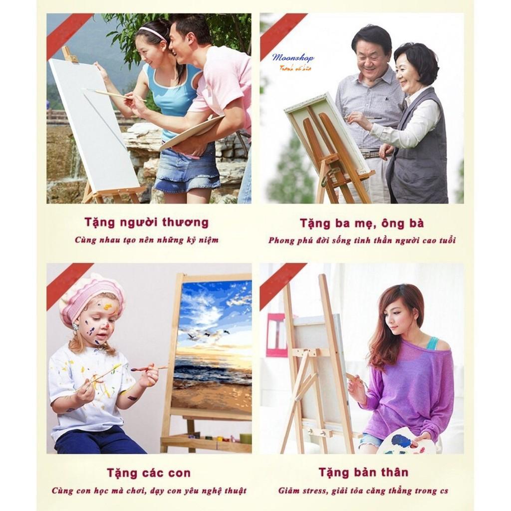 Tranh sơn dầu số hóa rẻ,đẹp-tranh tô màu theo số- tranh nắm tay 3 , Tặng khăn,khung gỗ 40x50-T1