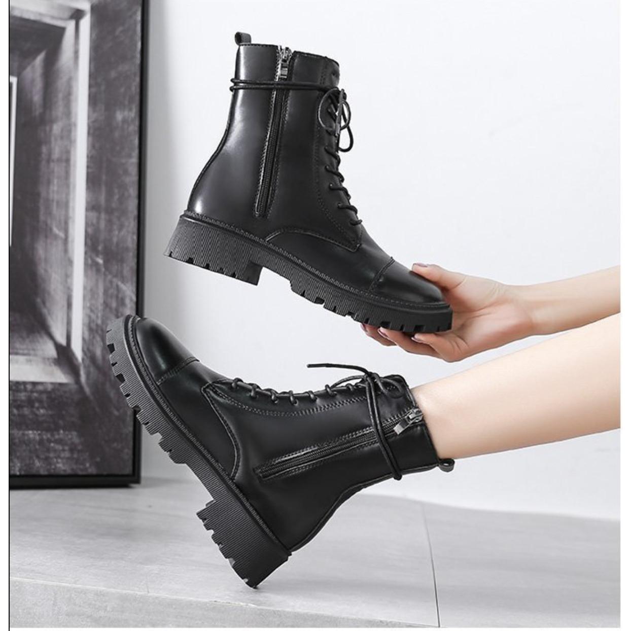Giày boot nữ đế bệt phong cách Hàn Quốc cao 2cm B151