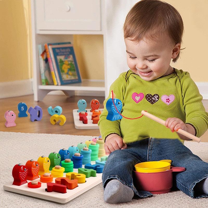 Đồ chơi trí tuệ 3in1 Số học, Cọc Tính kết hợp Câu Cá vui nhộn - đồ chơi gỗ