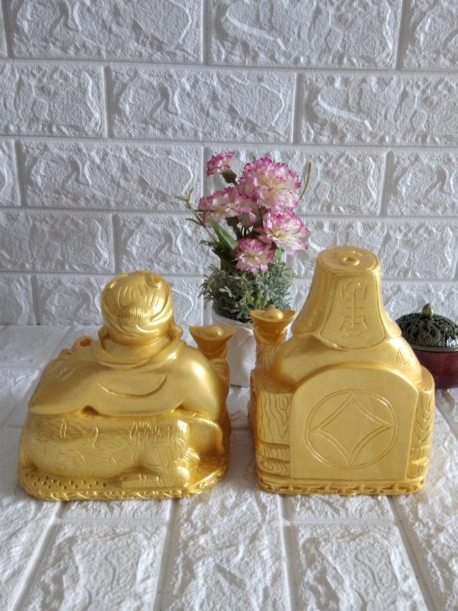 Tượng Thần Tài - Thổ Địa cỡ lớn màu vàng - size 27cm hai tượng - TDV27