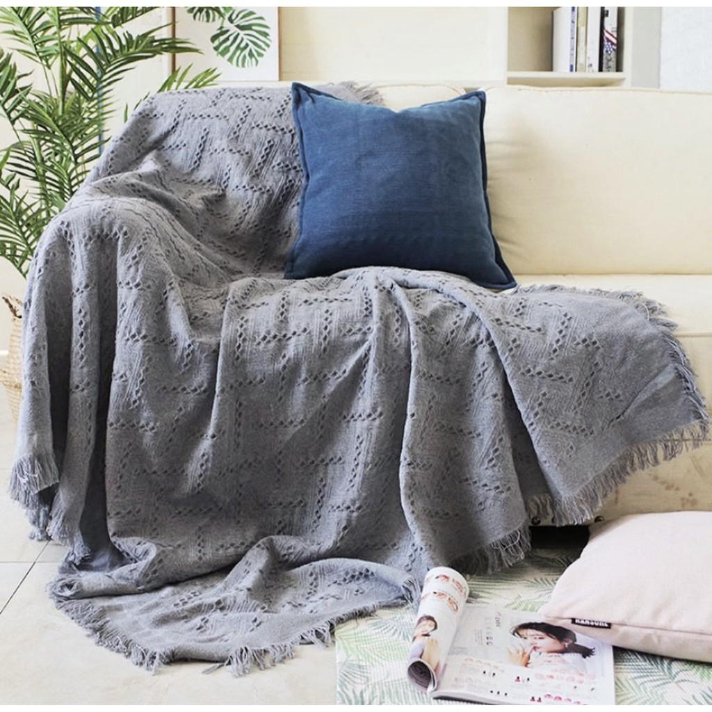Khăn Thảm Phủ Sofa chống bụi bẩn, Mền đắp thư giãn, Thảm Sofa Phòng Khách Loại Một Màu SBK107