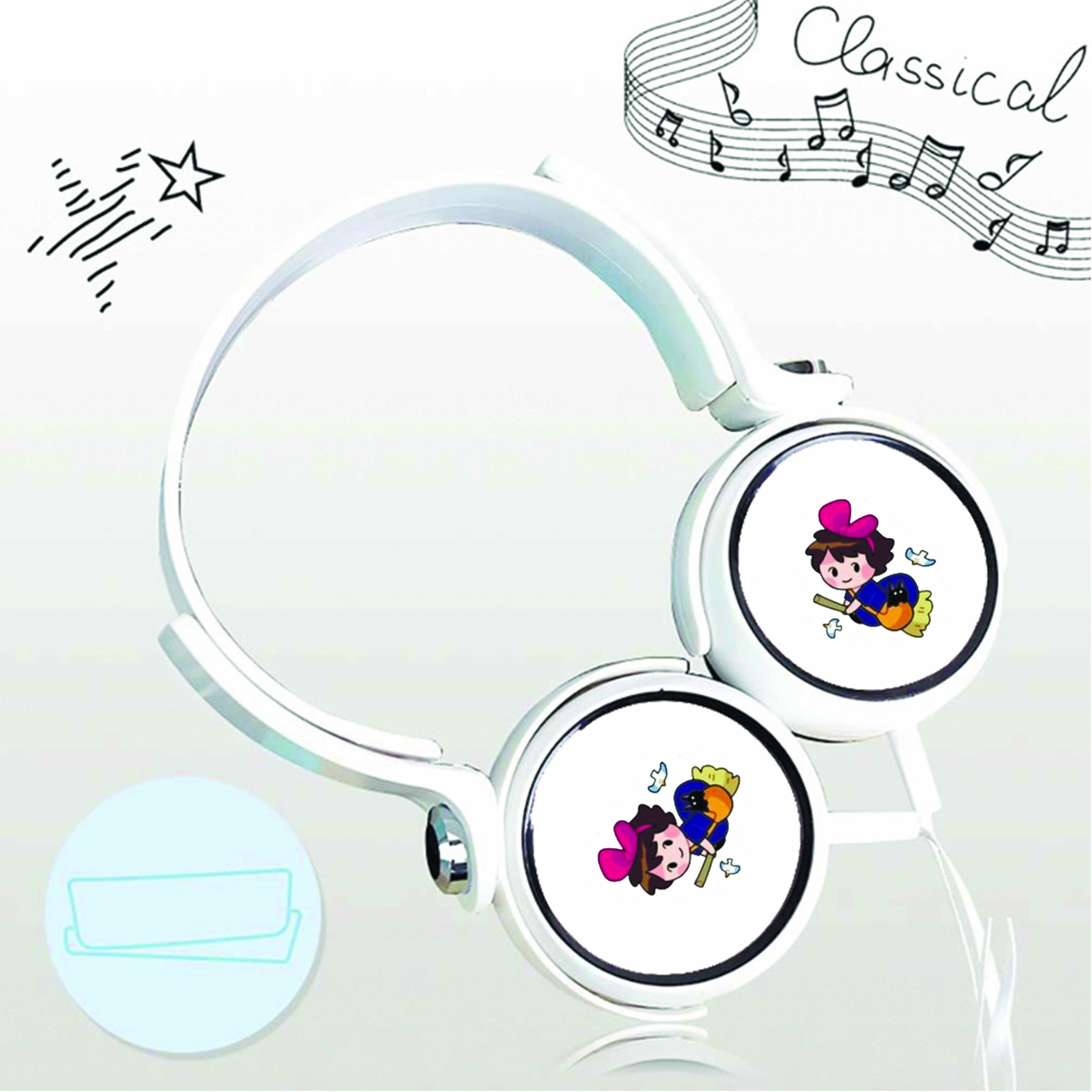 Tai nghe chụp in hình Kiki's Delivery Service - Dịch Vụ Giao Hàng Của Phù Thủy Kiki anime chibi cắm dây có mic