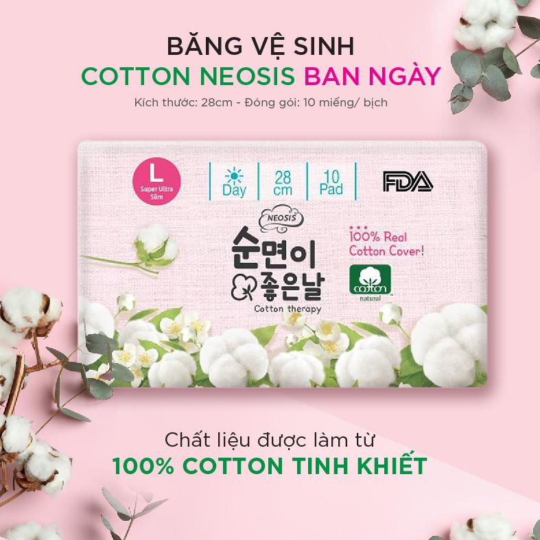 COMBO 6 GÓI BĂNG VỆ SINH HỮU CƠ NEOSIS COTTON BAN NGÀY của Hàn Quốc_Size L (KT: 28cm)_1 gói/10 miếng