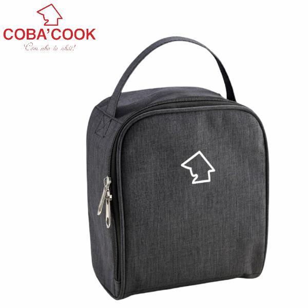 Túi đựng hộp cơm hình vuông logo COBA'COOK- 3 hộp dung tích 370 ml. Giấy bạc giữ nhiệt và 2 khóa kéo tiện dụng-CBBS