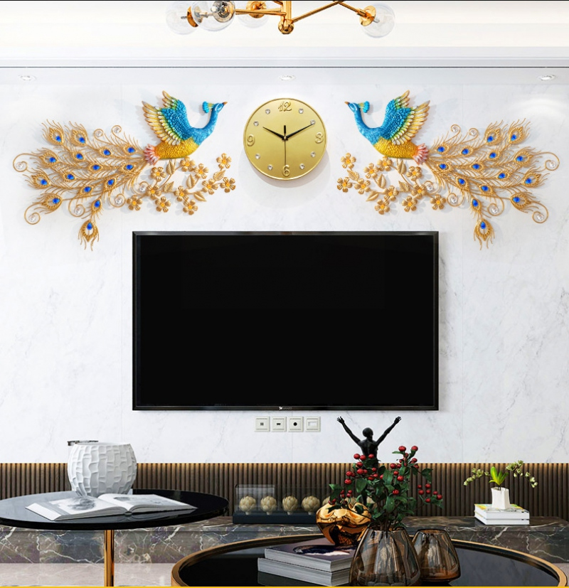 Đồng hồ 3D trang trí, Đồng Hồ Treo Tường phú quý, đồng hồ chim khổng tước Dùng làm quà tặng tân gia, trang trí khách sạn, phòng khách rất đẹp và sang trọng -chim công Đôi cho phòng rộng đẹp và sang trọng