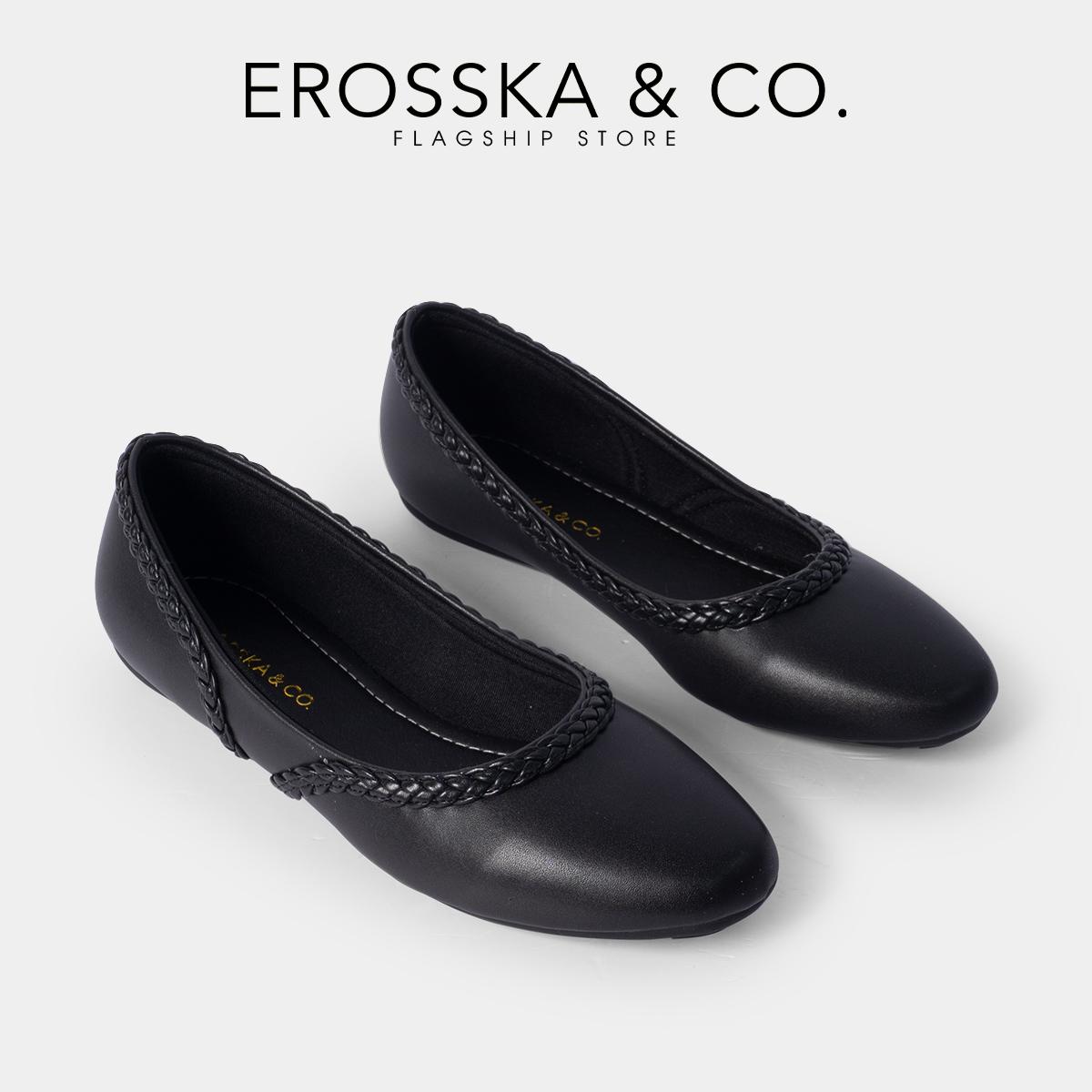 Giày búp bê Erosska thời trang mũi vuông phối dây đan chéo phong cách trẻ trung _ EF009