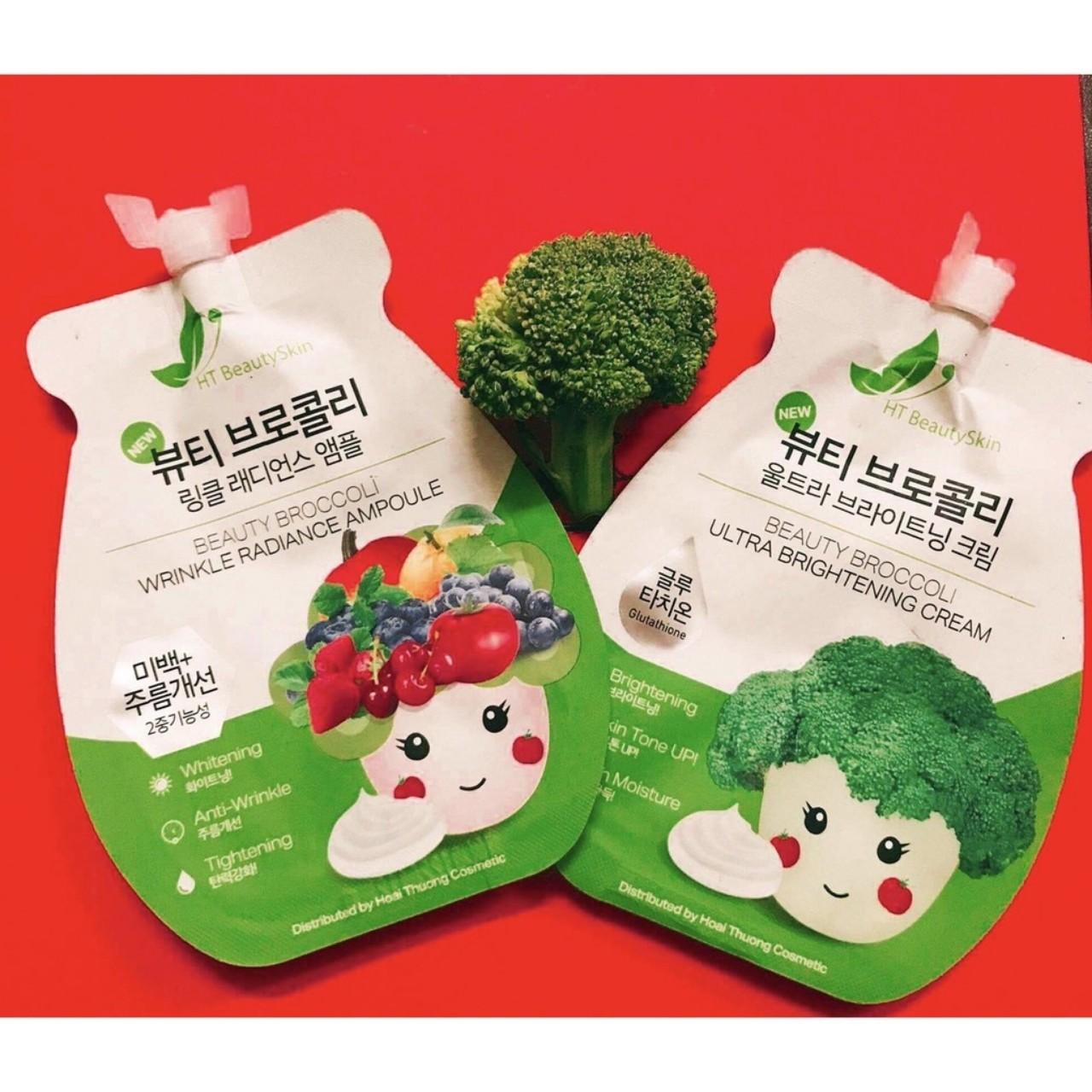 Combo trắng da Tinh chất Ampoule Súp Lơ - Beauty Broccoli Wrinkle Radiance Ampoule và KEM FACE SÚP LƠ - Beauty Broccoli Ultra Brightening Cream