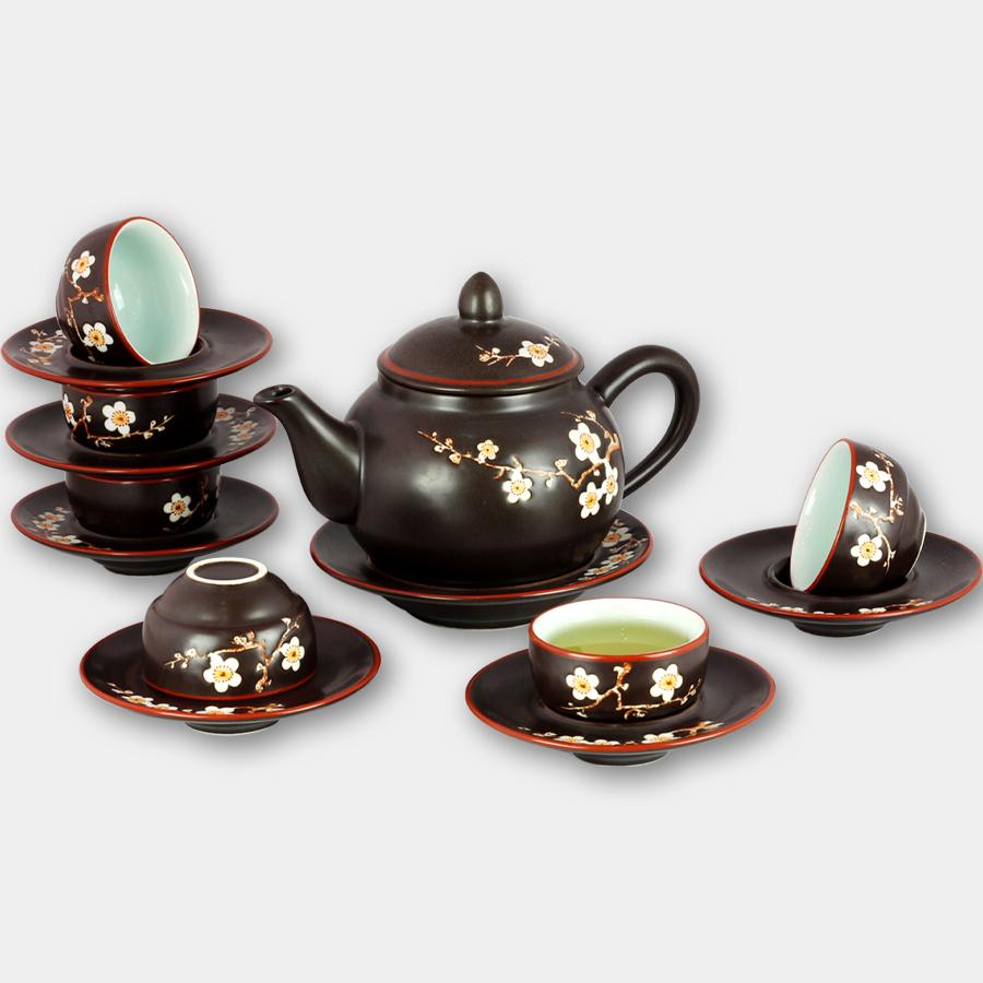 Bộ ấm chén tử sa lõm khắc hoa Đào gốm sứ Bát Tràng (bộ bình uống trà, bình trà)