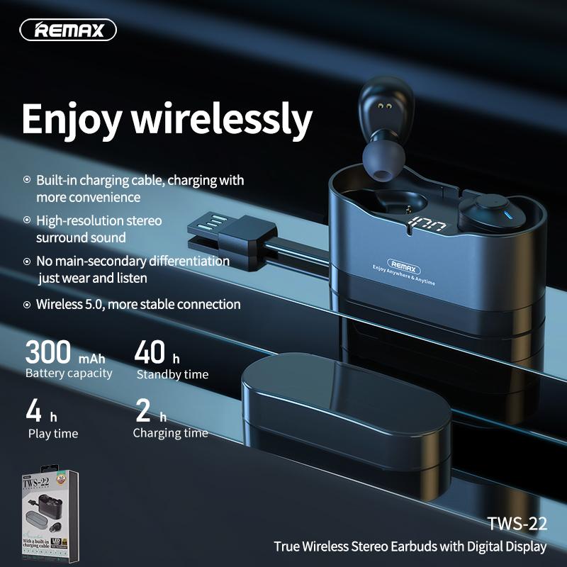 Tai nghe Bluetooth TWS Remax Earbuds TWS-22 V5.0 (Hàng chính hãng)